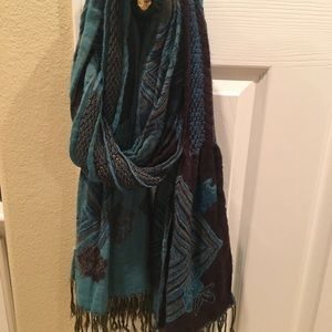 Accessories - Reversible turquoise and brown scarf
